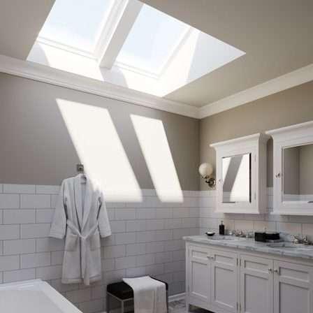 Bright bathroom after new skylights install